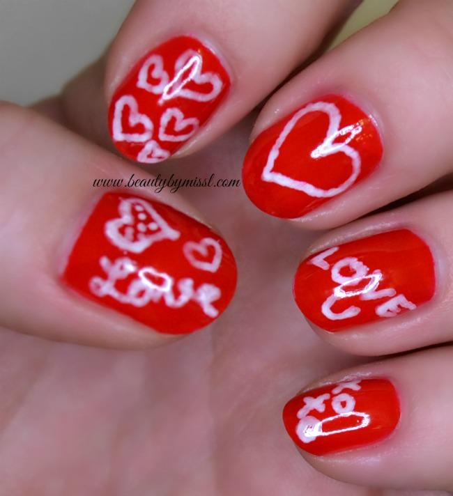 freehand Valentine's Day mani
