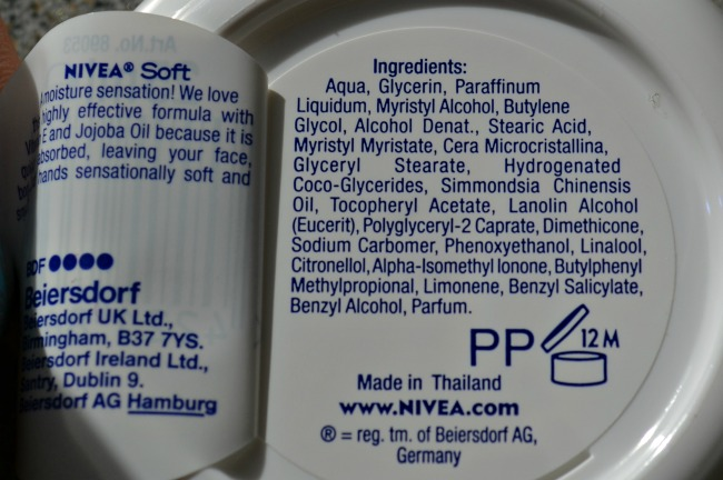 Nivea Soft Refreshingly Soft Moisturising Cream ingredients