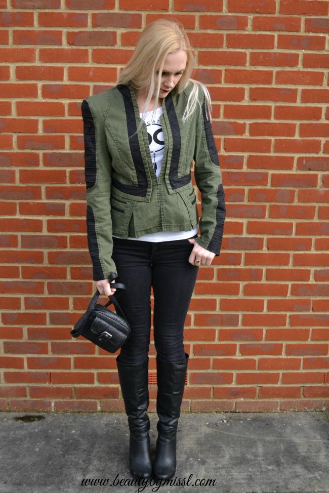 Denim PU Leather Contrast Blazer