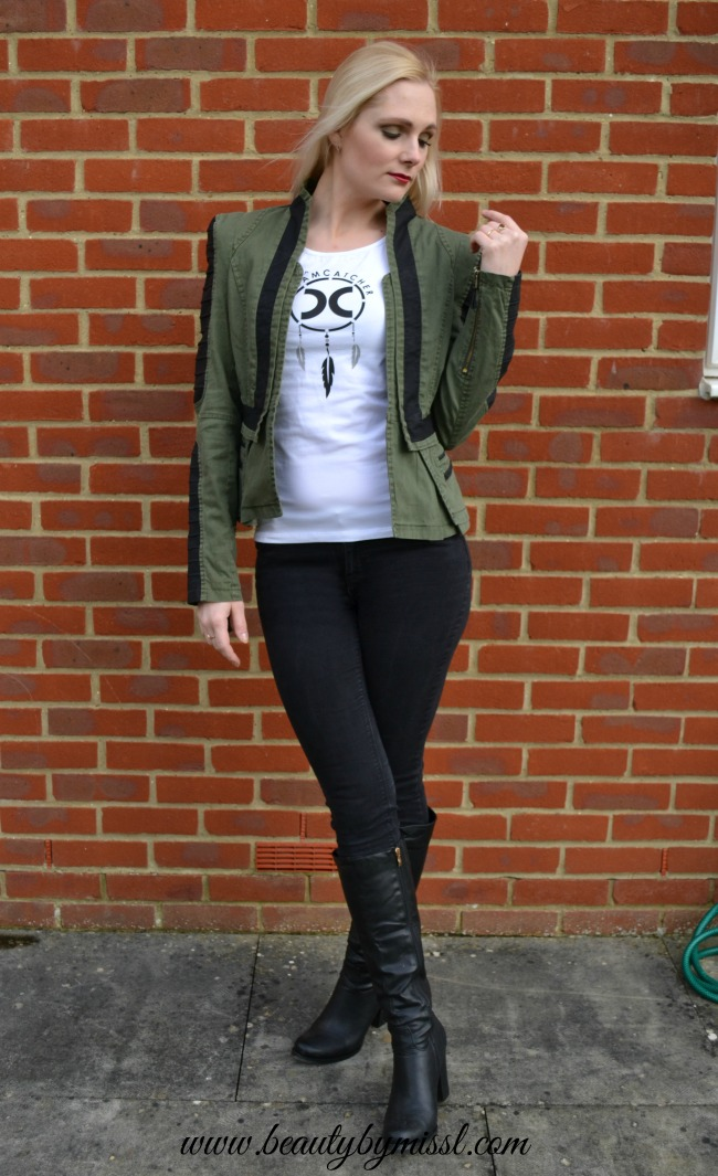 Denim PU Leather Contrast Blazer - Green