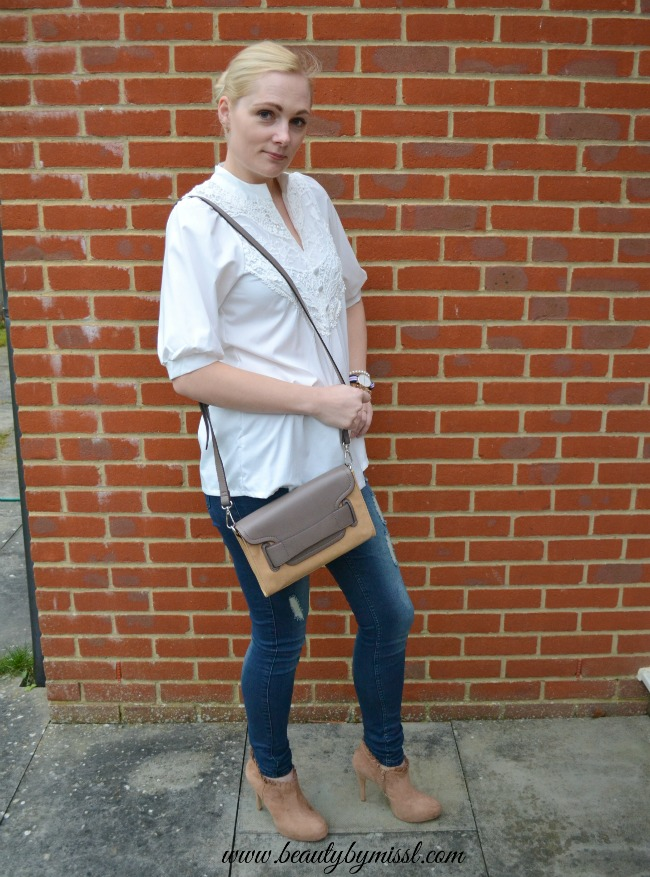 skinny jeans and loose blouse