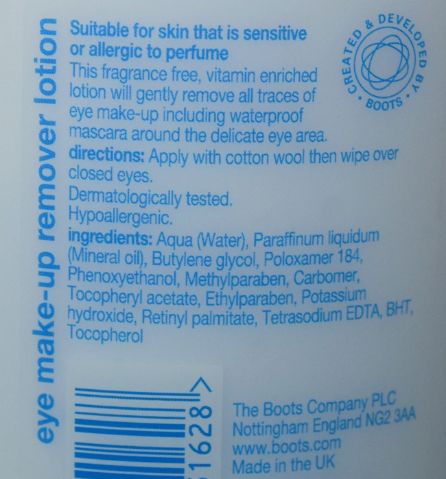 Boots Essentials Fragrance Free Eye Make Up Remover Lotion