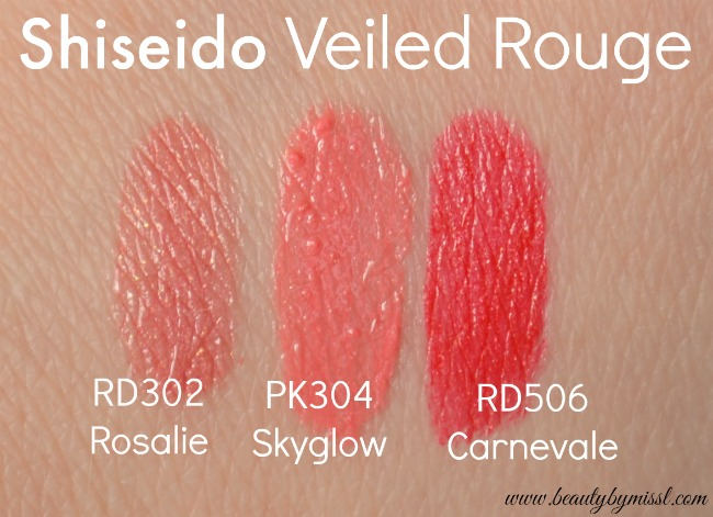 Shiseido Veiled Rouge RD302 Rosalie, PK304 Skyglow, RD506 Carnevale