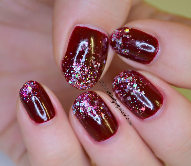 dark red nails with bling