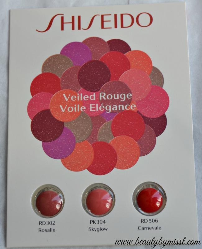 Shiseido Veiled Rouge - RD302, PK304 & RD506