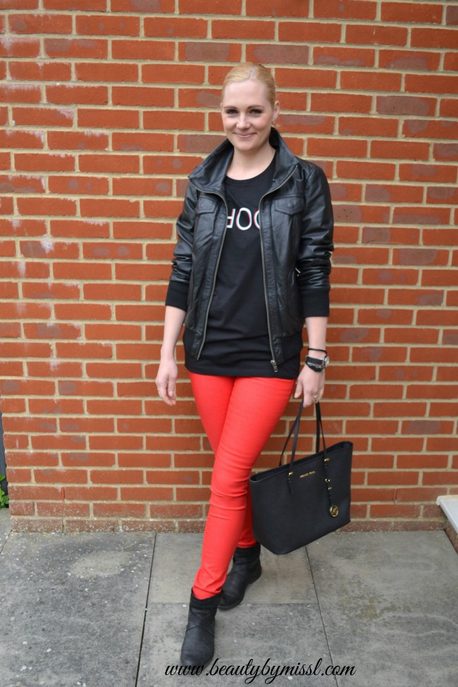 comfy black and red outfit
