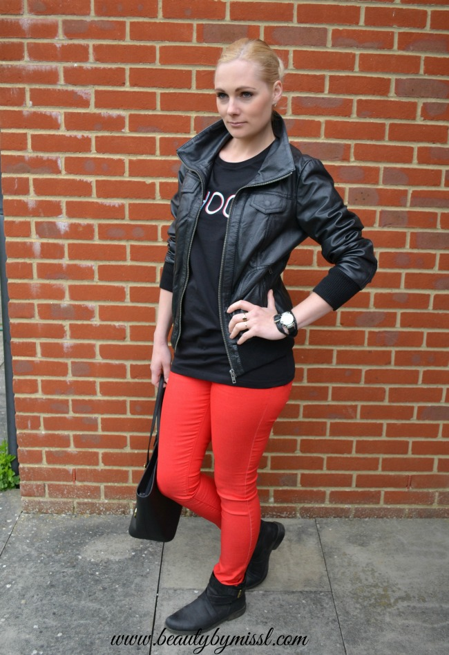 black and red outfit