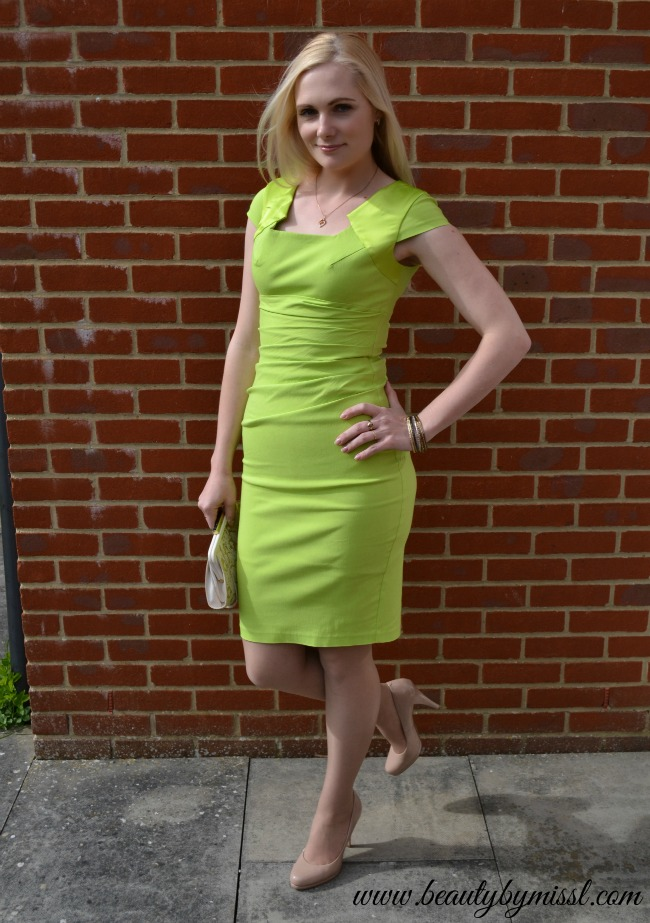 summer party outfit: lime green Hybrid Chelsea Bodycon dress