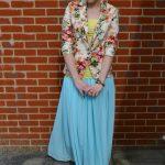floral blazer and light blue maxi skirt