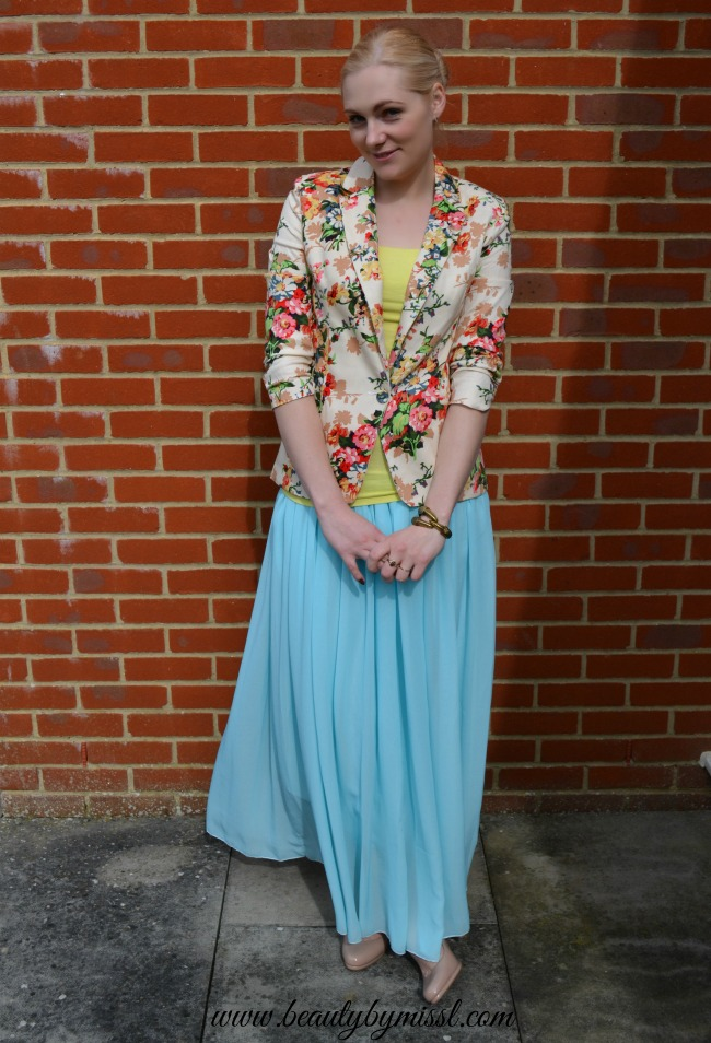 floral blazer and light blue maxi skirt from Aliexpress