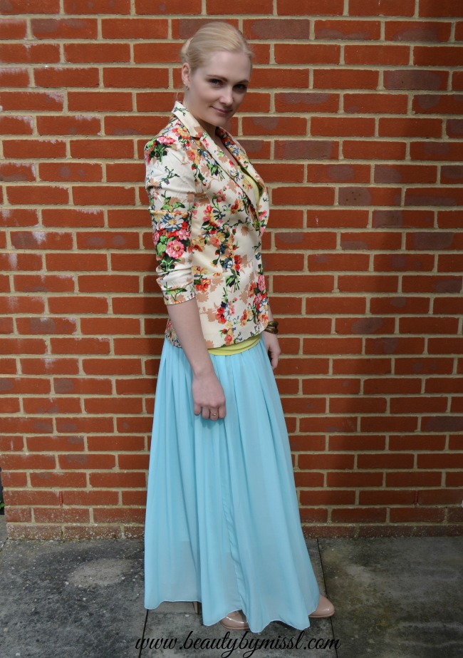 spring summer outfit floral blazer and light blue maxi skirt from Aliexpress
