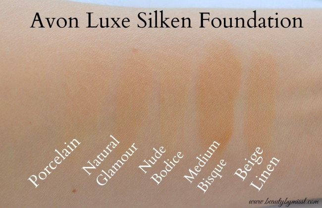 Avon Luxe Silken Foundation shades Porcelain, Natural Glamour, Nude Bodice, Medium Bisque and Beige Linen