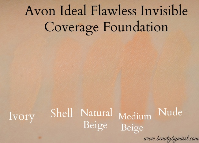 Avon Ideal Flawless Invisible Coverage Foundation swatches