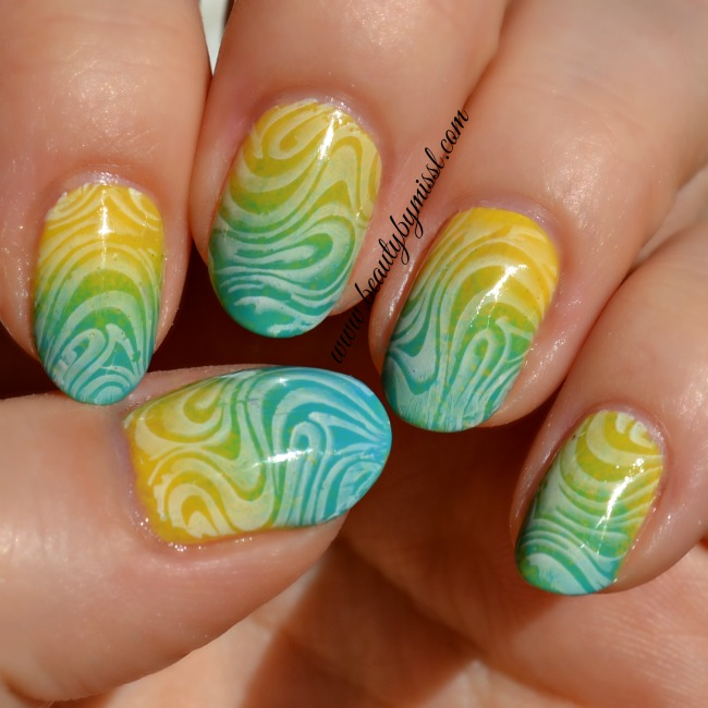 blue and yellow gradient nails and stamping