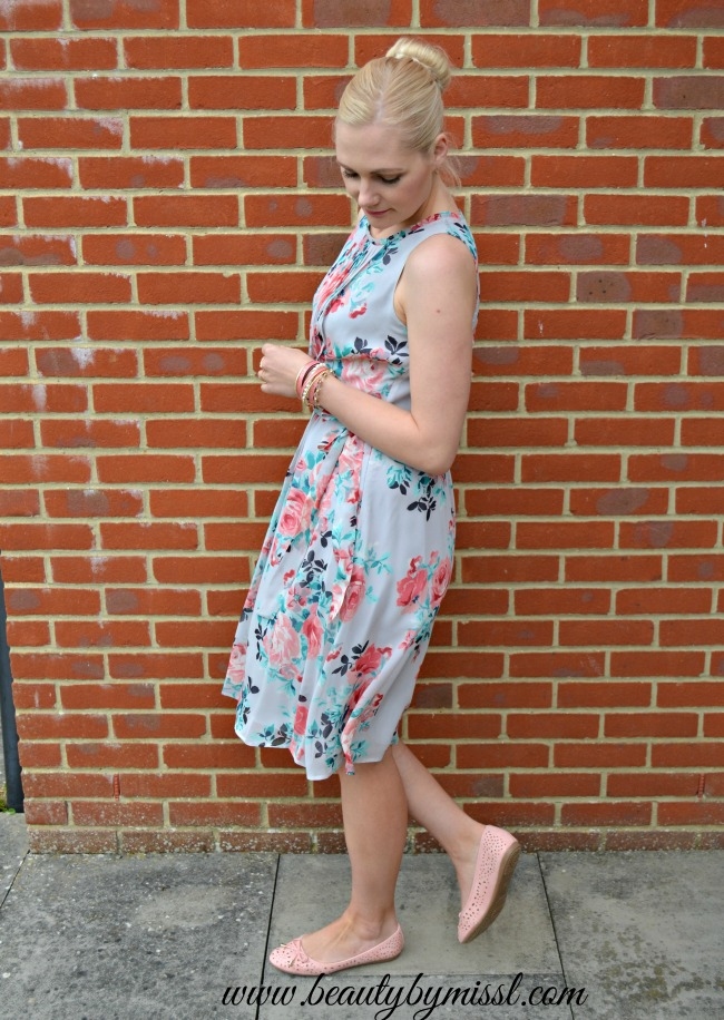 floral dress and pink flats