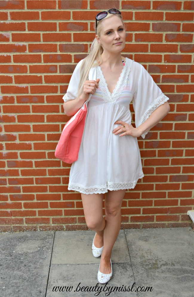 white beach cover up dress from Sheinside