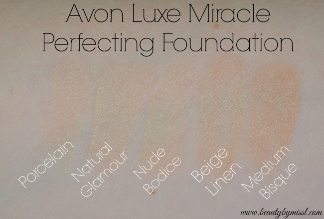 Avon Luxe Miracle Perfecting Foundation swatches