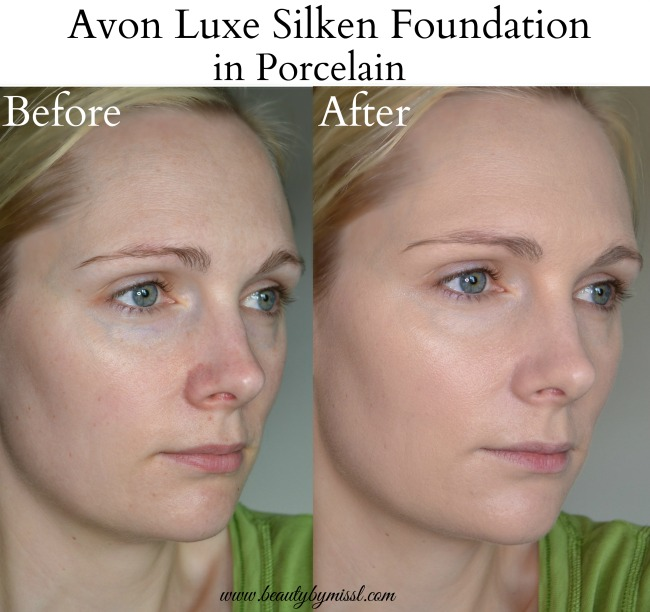 Avon Luxe Silken Foundation Porcelain before after