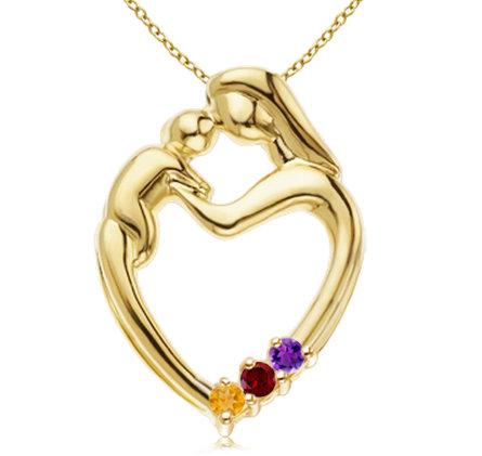 Custom Birthstone Mother And Child Heart Pendant