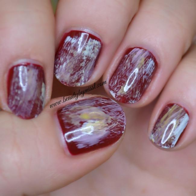 simple dry brush nail art