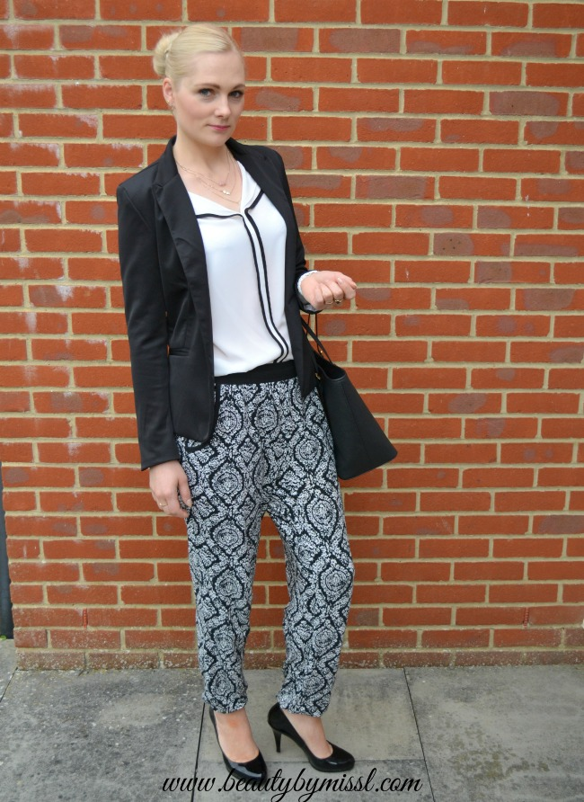 Black and white, joggers and heels