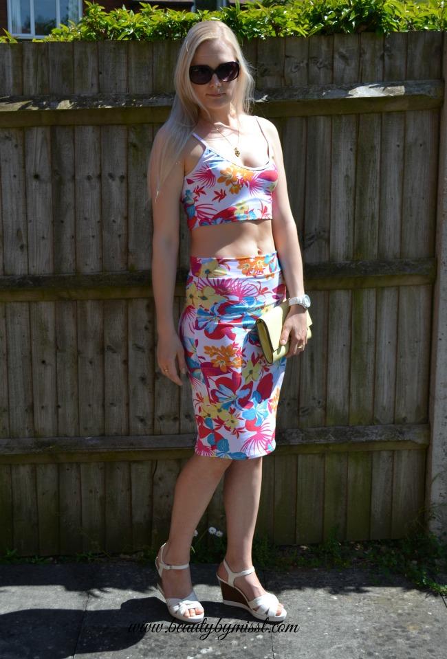 Floral print 2-piece dress