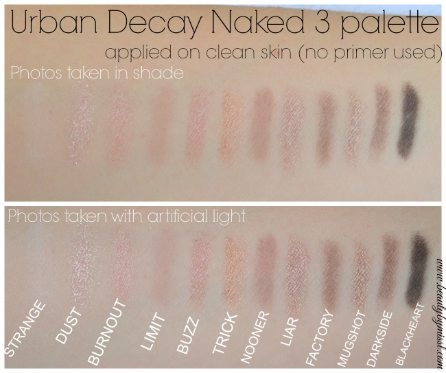 Urban Decay Naked 3 swatches