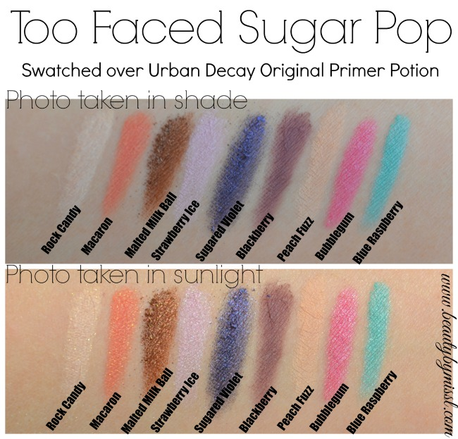 Too Faced Sugar Pop eyeshadow palette swatches