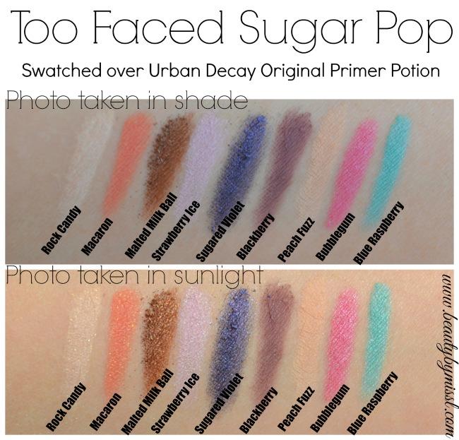 Too Faced Sugar Pop eyeshadow palette swatches
