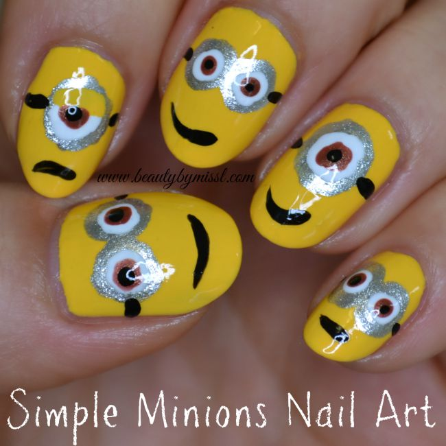 simple Minions nail art