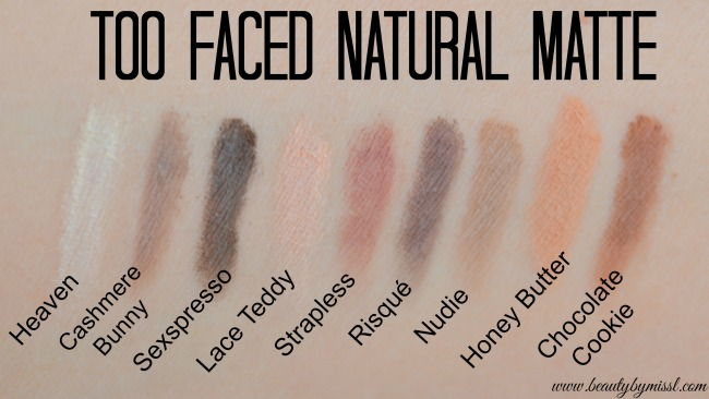 Too Faced Natural Matte swatches
