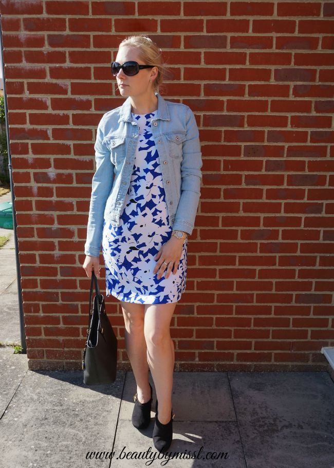 blue, black and white outfit