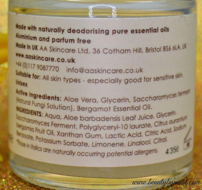 AA Skincare Bergamot & Aloe Deodorant ingredients