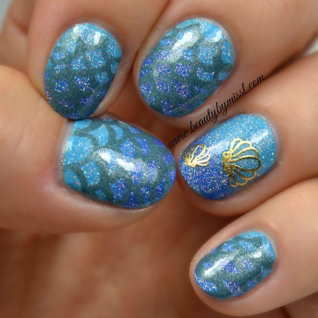 blue mermaid nails | www.beautybymissl.com