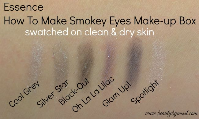 Essence How To Make Smokey Eyes makeup box swatches on clean dry skin   www.beautybymissl.com