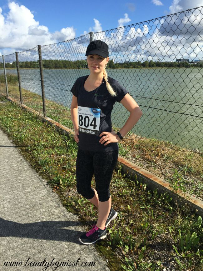 sporty outfit: USA Pro leggings, ElleSport top, Nike running shoes