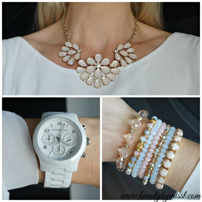 beige, golden and white accessories. Michael Kors watch, Dorothy Perkins and New Look bracelets, Billie & Blossom statement necklace | www.beautybymissl.com