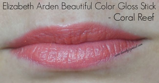 Elizabeth Arden Beautiful Color Gloss Stick in shades Coral Reef swatch | www.beautybymissl.com