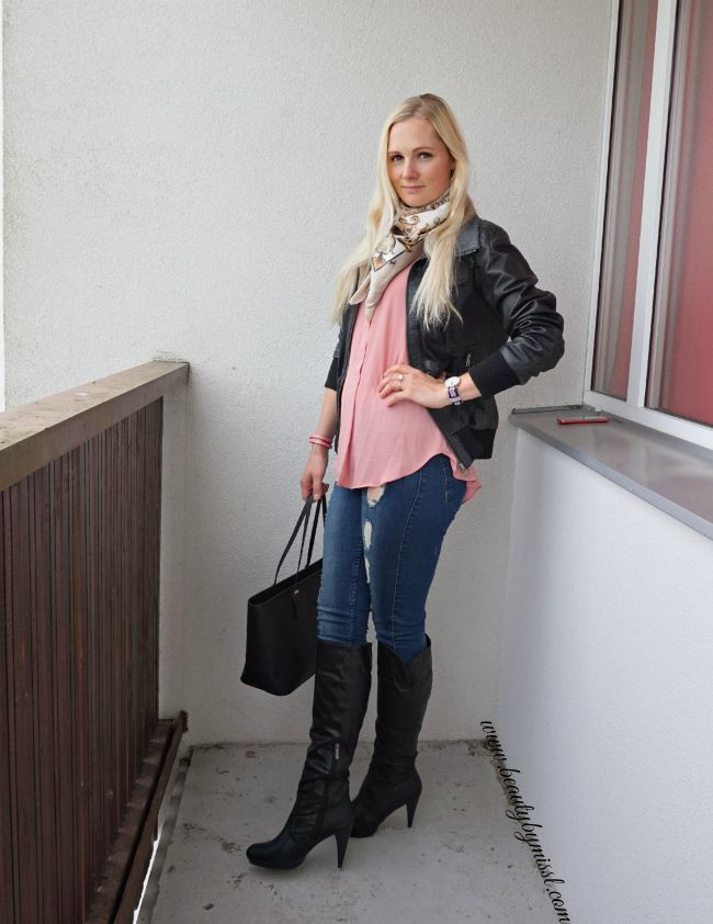 Knee high boots and leather jacket | www.beautybymissl.com
