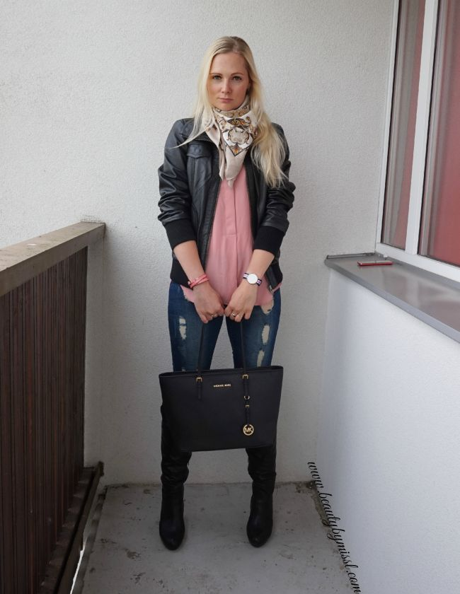 autumn outfit featuring knee high boots and black leather jacket | www.beautybymissl.com
