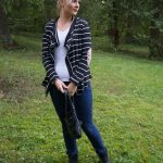 dark blue jeans, striped cardigan, black booties | www.beautybymissl.com