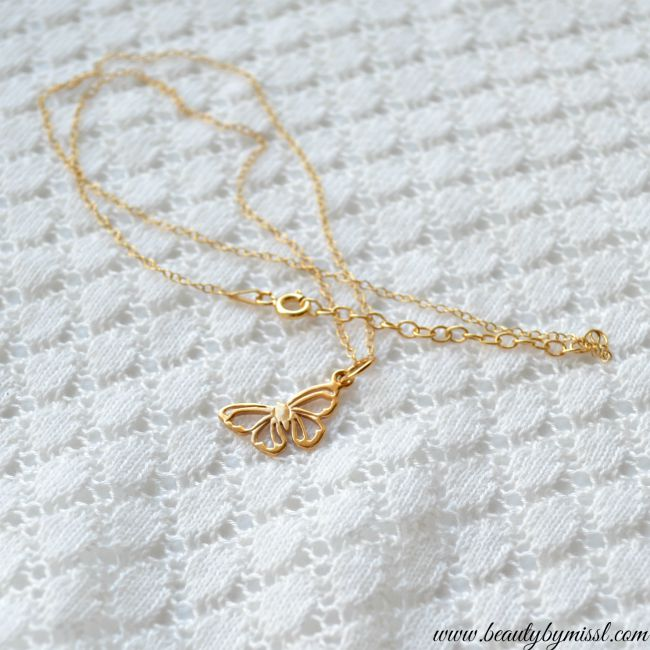 24ct Gold Plated Sterling Silver butterfly necklace from Lily Charmed