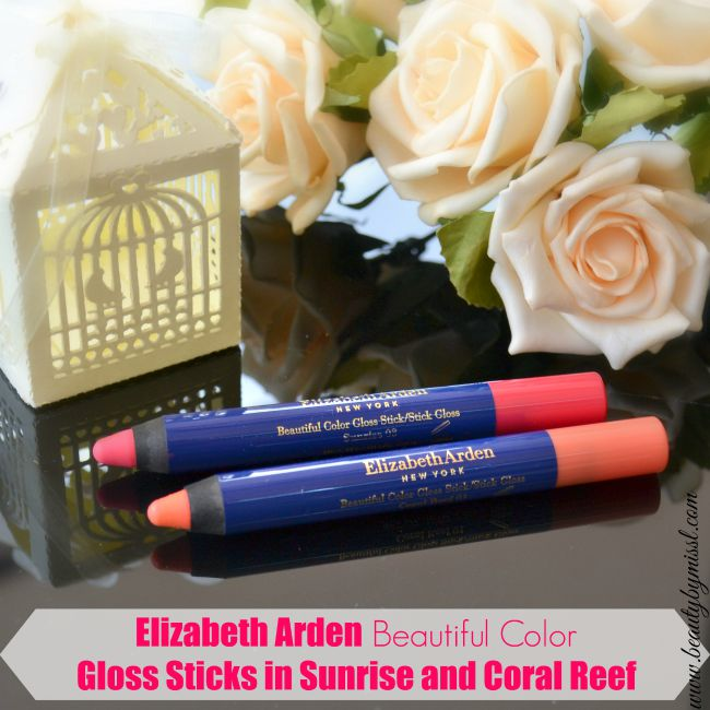 Elizabeth Arden Beautiful Color Gloss Stick in shades Coral Reef and Sunrise swatchesand review | www.beautybymissl.com