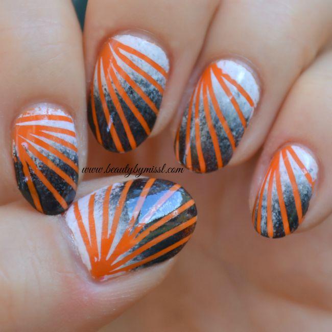 orange black white striped sponging nail art