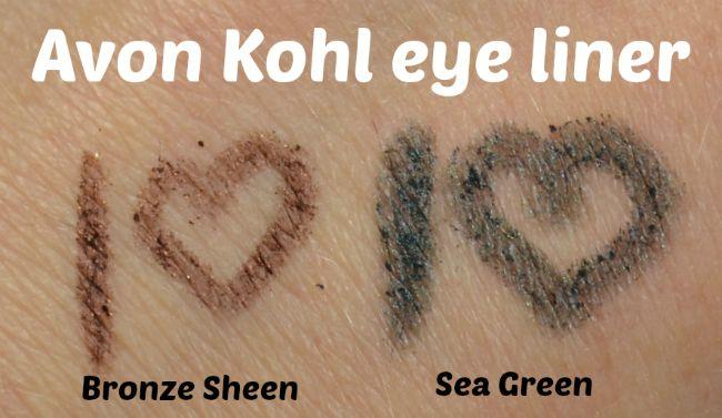 Avon Kohl Eye Liner - Bronze Sheen & Sea Green swatches