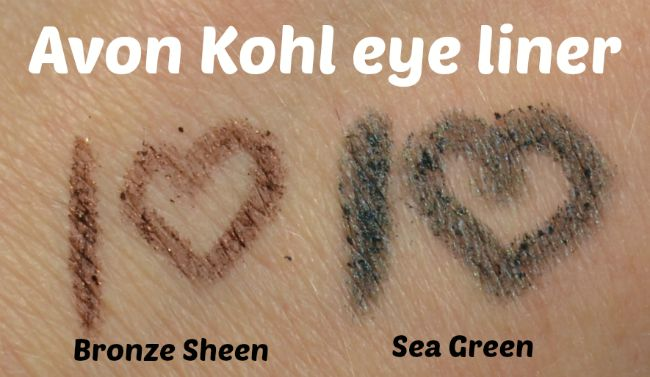 Avon Kohl Eye Liner - Bronze Sheen & Sea Green swatches