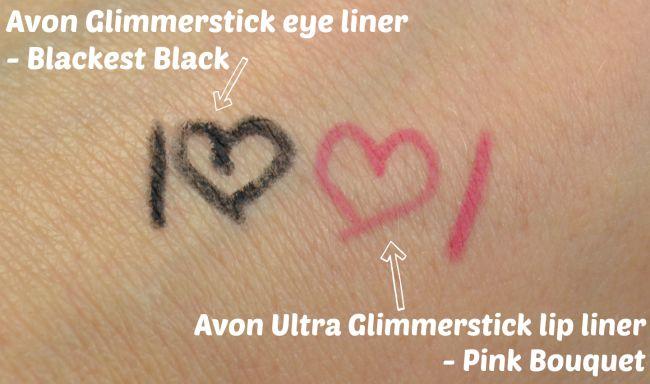 Avon Glimmerstick eye liner - Blackest Black & lip liner - Pink Bouquet swatches