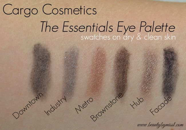 Cargo Cosmetics The Essentials Eye Shadow palette swatches on clean dry skin