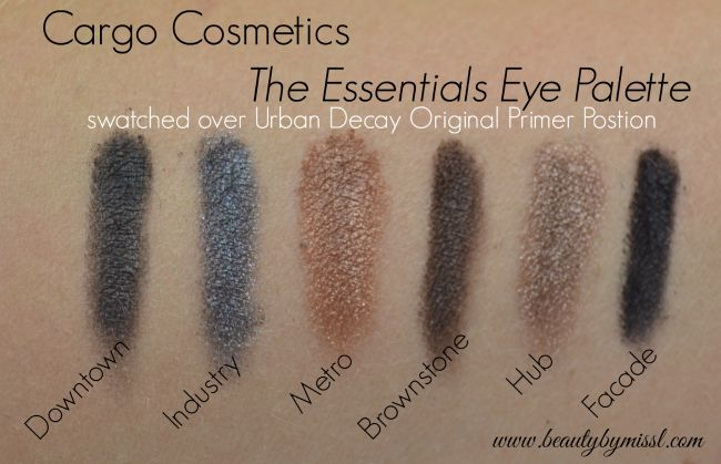 Cargo Cosmetics The Essentials Eye Shadow palette swatched over Urban Decay Original Primer Potion