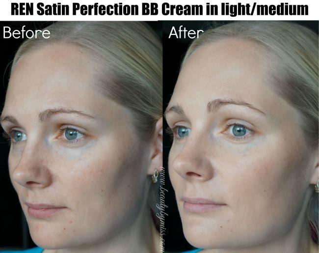 REN Satin Perfection BB Cream light/medium before and after